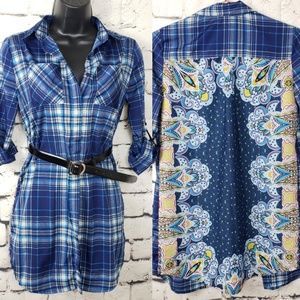 Band of Gypsies Plaid Paisley Button Up Dress LG